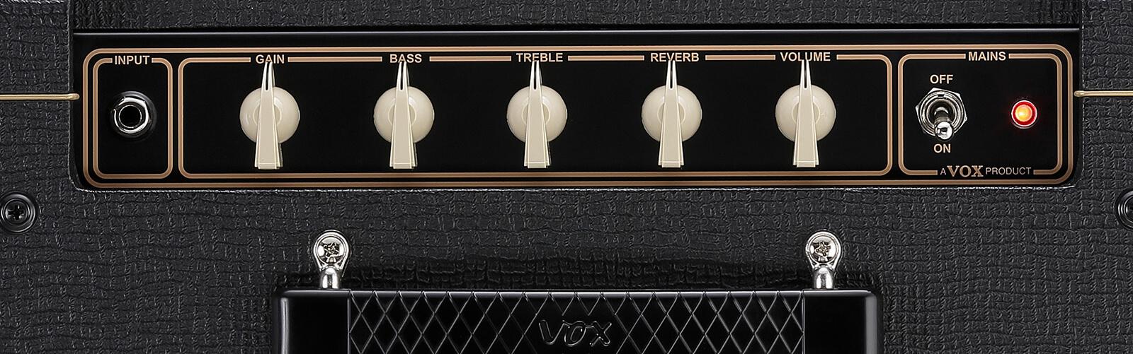 closeup of controls on VOX AC10C1