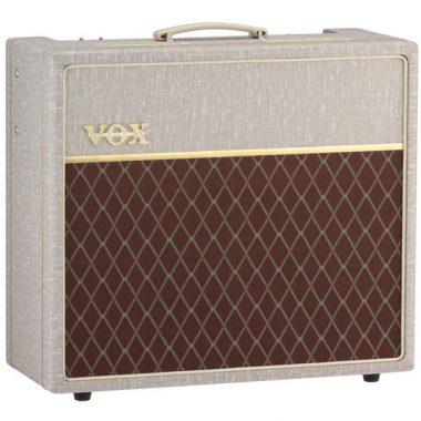 cream an brown VOX amplifier